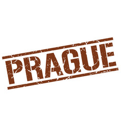 Prague brown square stamp vector