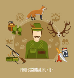 Professional hunter concept vector