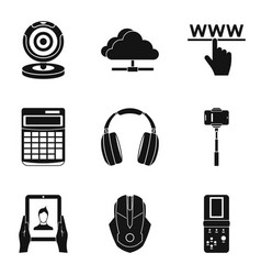Promising device icons set simple style vector