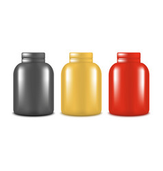 realistic template blank color protein bottle set vector image vector image
