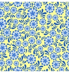 Seamless blue floral pattern in russian gzel style vector