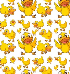 Seamless design of ducklings vector