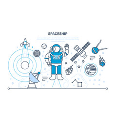 set on space spaceship including transport vector image vector image