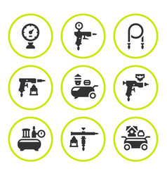Set round icons of compressor and accessories vector
