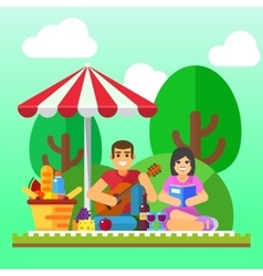 Summer picnic Young family happy couple holiday vector image