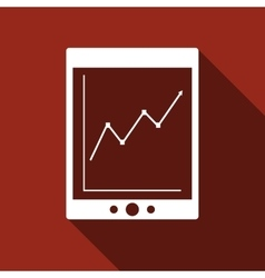 Tablet with business charts icon with long shadow vector image vector image