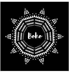 Tribal circle ornament round oriental boho motif vector