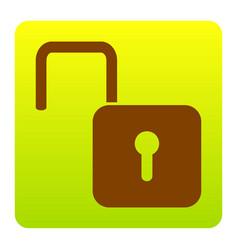 Unlock sign brown icon at vector