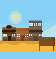 Western town with wooden houses vector