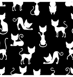 White Cats Seamless Pattern vector image vector image