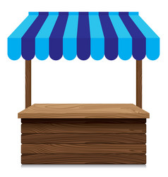Wooden market stall with blue awning on white vector