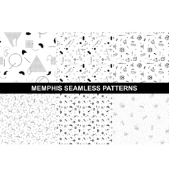 Collection of memphis seamless patterns vector