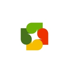 Isolated abstract colorful leaves logo on white vector