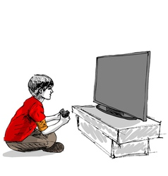 Boy playing computer game vector