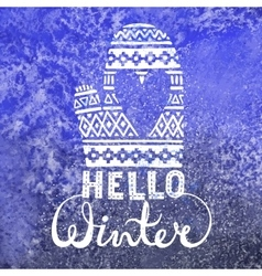Hello winter text brush lettering and knitted vector