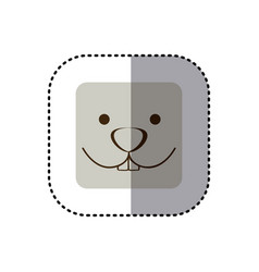 colorful face sticker of rabbit face in square vector image