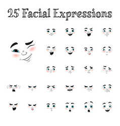 cartoon faces expressions set vector image
