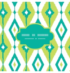 Emerald green ikat diamonds frame seamless vector