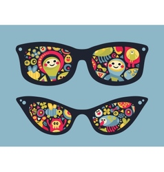 Retro sunglasses with funny party reflection vector