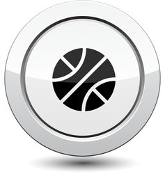 Button with basketball sport icon vector