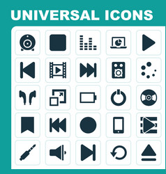 Media icons set collection of pause broadcast vector
