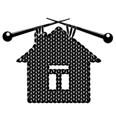 The silhouette knitted house vector