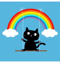 Rainbow two clouds in the sky and cat on the swing vector