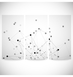 Set of gray backgrounds for communication molecule vector