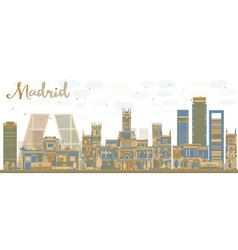 Abstract madrid skyline vector