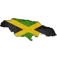 Jamaica map with flag inside vector