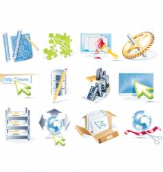 web site icon set vector image