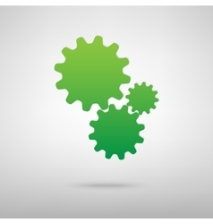 Settings green icon vector