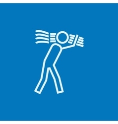 Man carrying wheat line icon vector