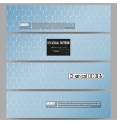 Set of modern banners chemistry pattern vector