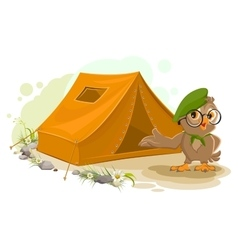 Summer holiday camp scout owl standing near tent vector