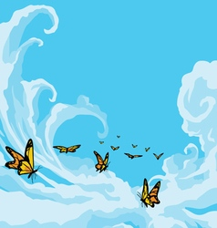 Butterflies flying in a blue cloudy sky vector