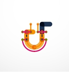 Abstract line design letter logo vector image