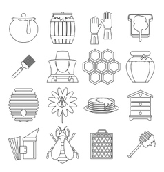 Apiary tools icons set outline style vector