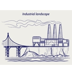 Ball pen sketch industrial landscape vector