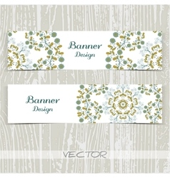 Banners Ornament Blue Flowers vector image