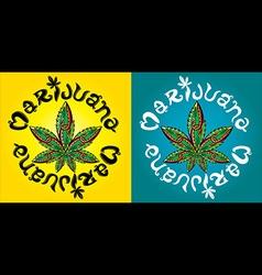 cannabis marijuana leaf symbol snake vector image vector image