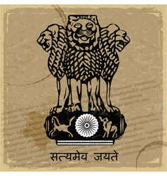 Coat of arms of india on the old postage card vector
