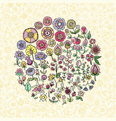 colorful doodle flowers vector image