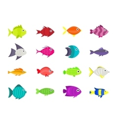Cute fish icons set vector