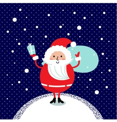 Cute retro Santa isolated on winter background vector image