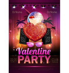 Disco Valentine party poster vector image vector image