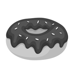 Donut with chocolate glaze icon in monochrome vector