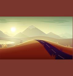 evening landscape sunshine vector image vector image