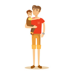father holding his son in his arms and smiling vector image vector image