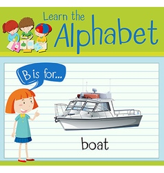 Flashcard alphabet b is for boat vector